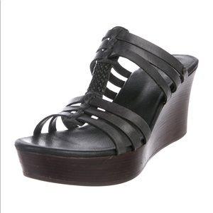 UGG Australia gray leather wedge sandals 7M